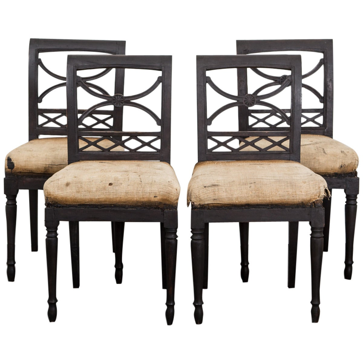 Chairs Swedish Dining Chairs Set of Four 18th Century Swedish Black, Sweden