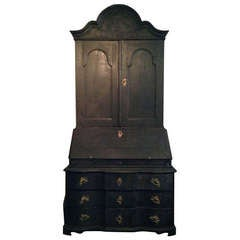 Black Painted Baroque Swedish Secretary