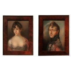 Portraits Pair of Danish Early 19th Century, Denmark Mahogany Frame