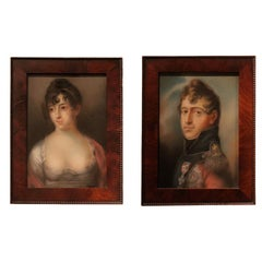 Portraits Pair Danish 19th Century, Denmark Mahogany Frame