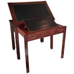 Desk English Leather Brown Mahogany 18th Century England