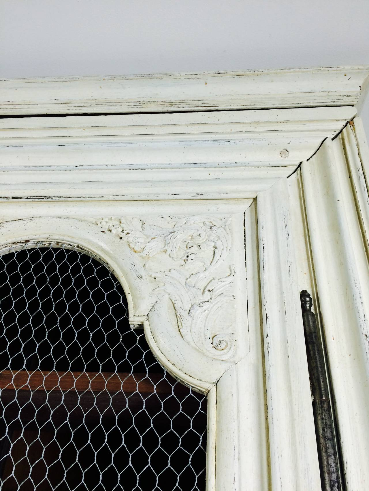 French Linen Cabinet with Chicken Wire Doors at 1stdibs