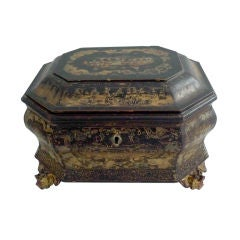 Box Chinese Black Gold Chinoiserie 19th Century China