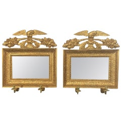 Swedish Neoclassical Mirrored Wall Sconces