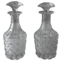 Pair of Russian Handblown Chrystal Carafes