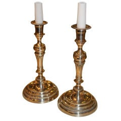 Pair of Neoclassical Candlesticks in Argent Hache
