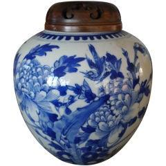 Jar Ginger Jar Chinese Blue and White  18th Century Flower and Bird China