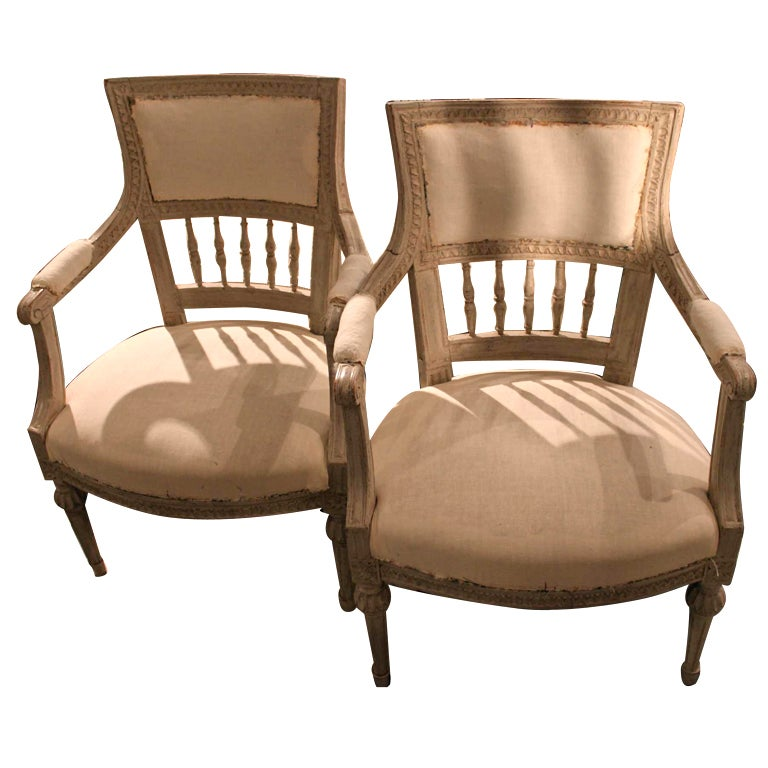 Armchairs Pair Swedish White Gustavian 1790-1810 Sweden