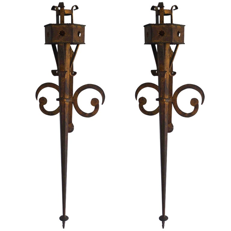Wall Sconces Long : A Pair of Long Wall Sconces at 1stdibs