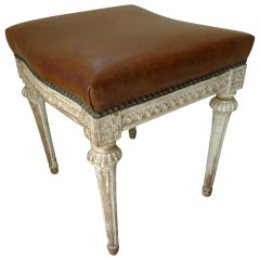 Gustavian Stool with Leather Seat