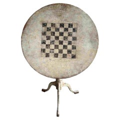 Tilt Top Table with Painted Chess Game