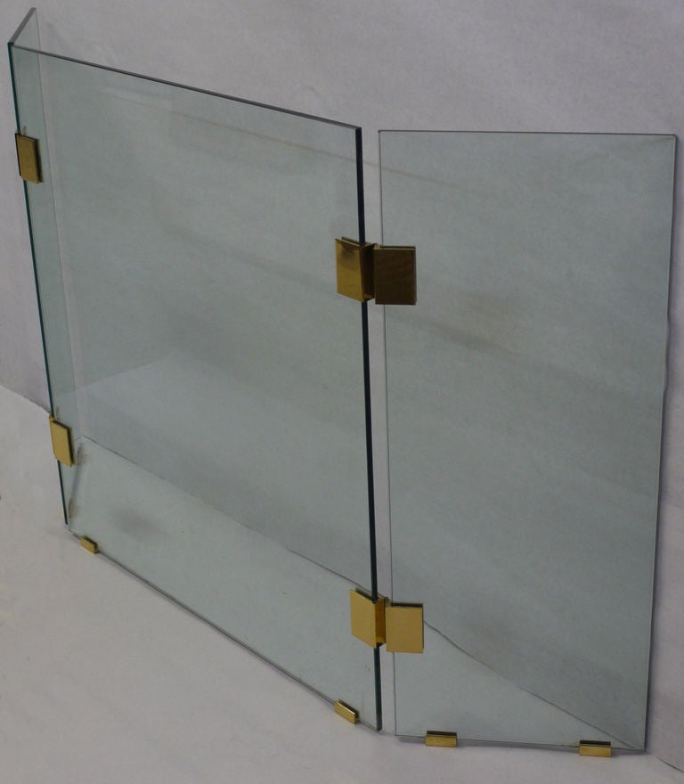 1970s Glass and Brass Fireplace Screen at 1stdibs