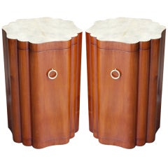 Pair of Sculptural Mahogany and Parchment End Tables