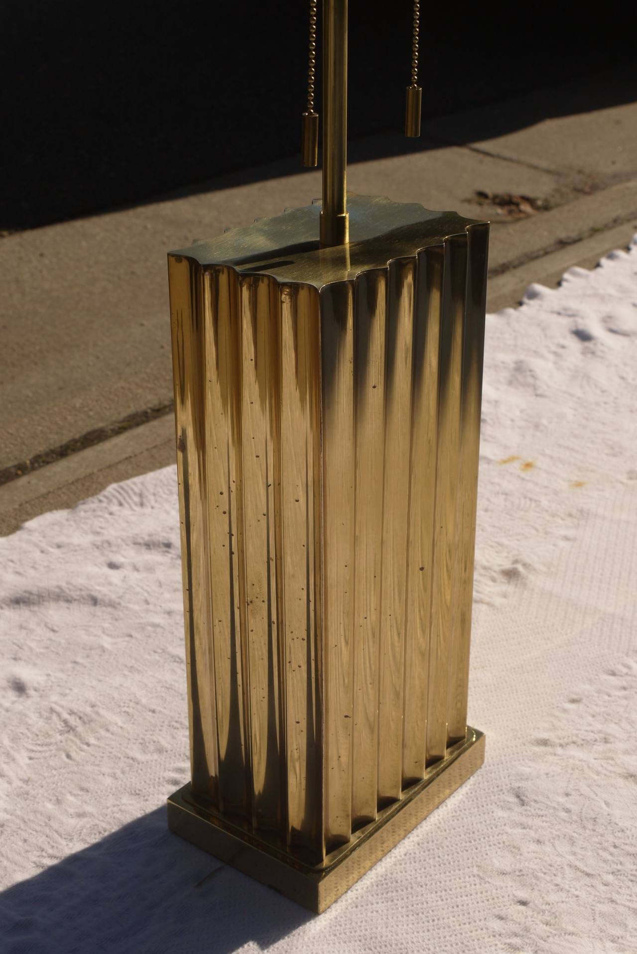 Fluted Brass Lamps by Sarreid Ltd For Sale at 1stdibs