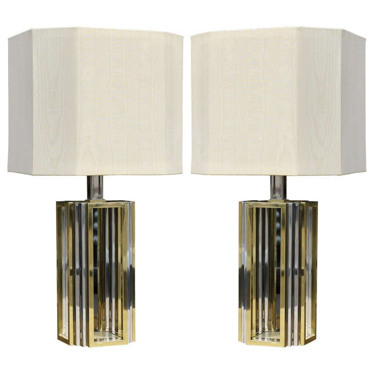 Pair of Chrome and Brass Lamps by Romeo Rega