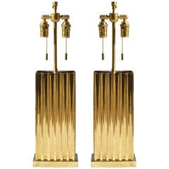 Fluted Brass Lamps by Sarreid Ltd.