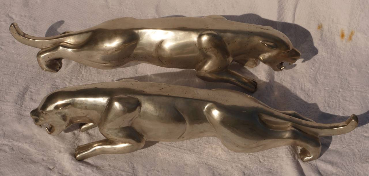 Pair of French Deco Silvered Bronze Jaguars by Charles Valton For Sale 2