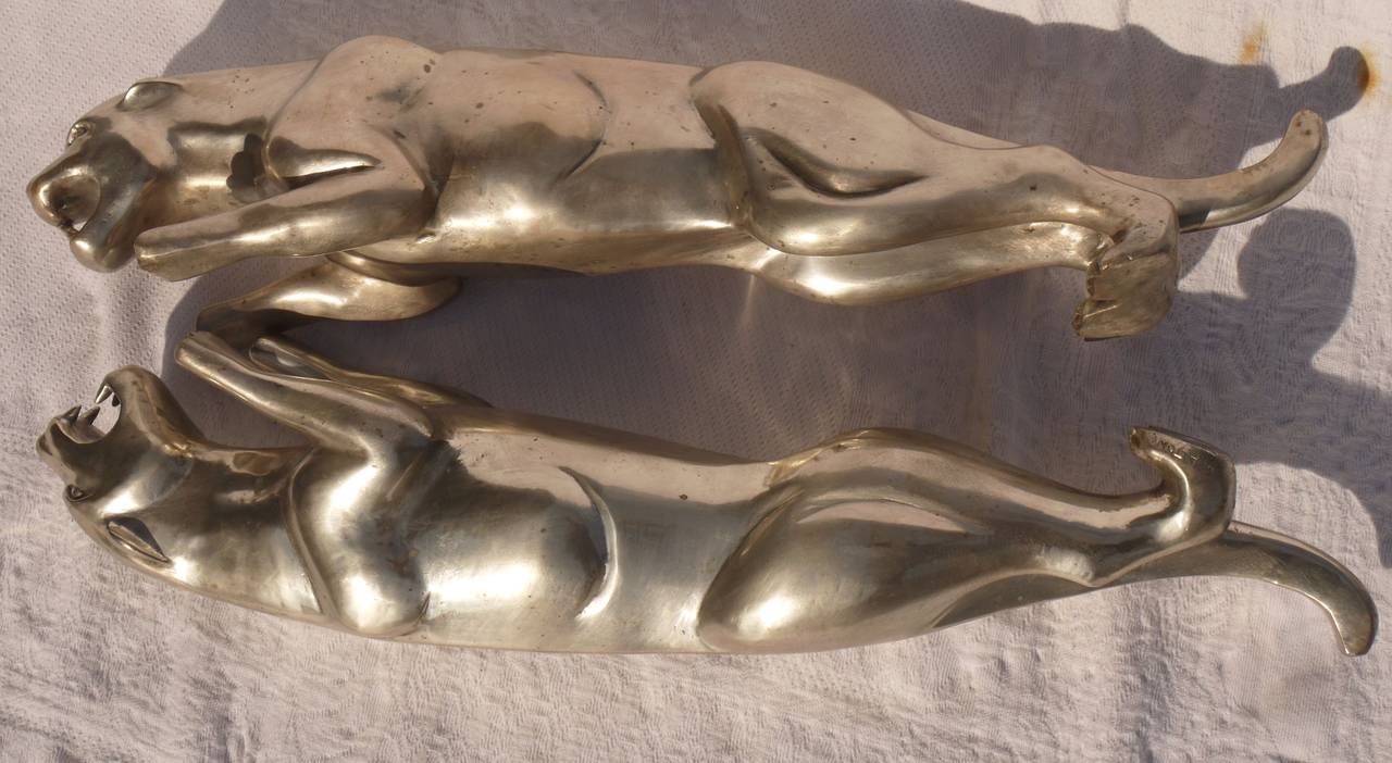 Pair of French Deco Silvered Bronze Jaguars by Charles Valton For Sale 4