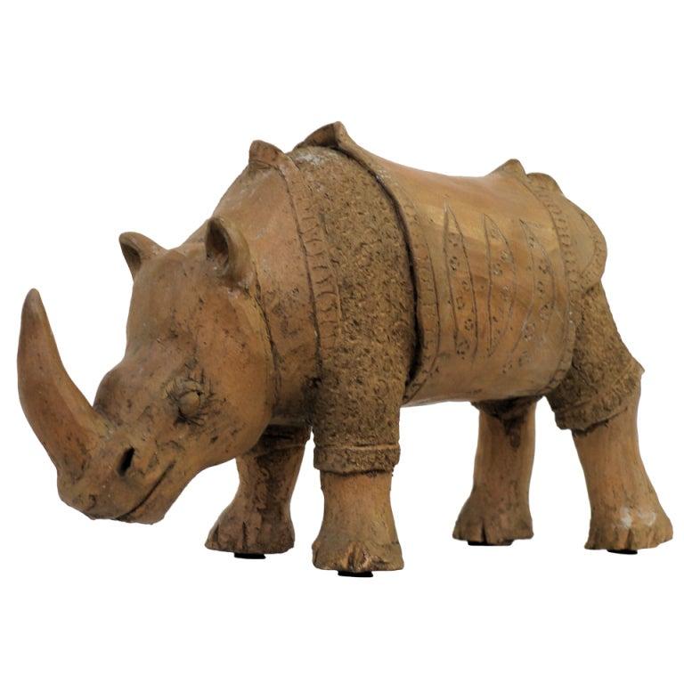 Large Studio Pottery Rhino For Sale
