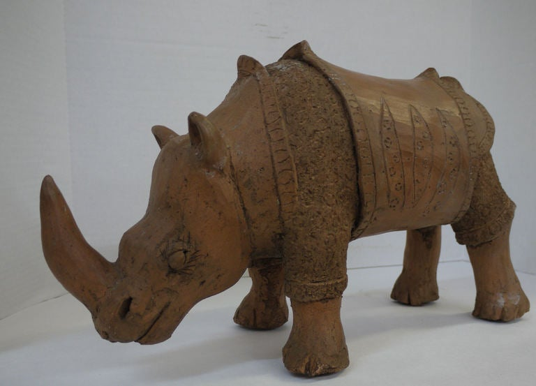 Unknown Large Studio Pottery Rhino For Sale