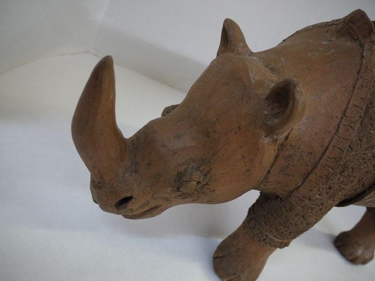Large Studio Pottery Rhino In Excellent Condition For Sale In Kilmarnock, VA