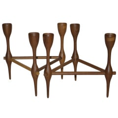 Adjustable Teak Candlestick Set by Jacob Jensen