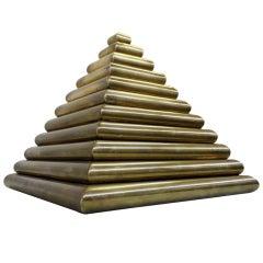Sculptural Brass Pyramid Box