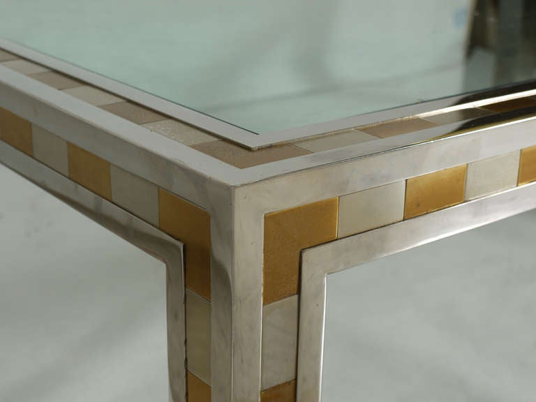 Large Studio Made Cityscape Style Parsons Coffee Table In Good Condition For Sale In Kilmarnock, VA