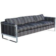 Milo Baughman Chrome and Linen Cut Velvet Sofa