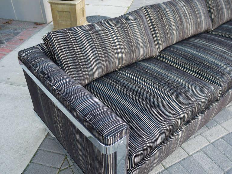 Milo Baughman Chrome And Linen Cut Velvet Sofa At 1stdibs