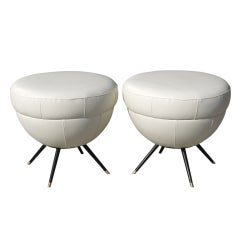 Mid Century Pair of Italian Ottomans