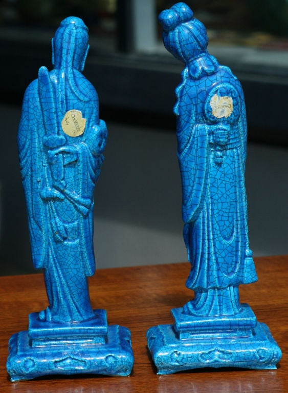 Pair of Turquoise Crackle Glaze Chinoiserie Figurines 2