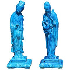 Pair of Turquoise Crackle Glaze Chinoiserie Figurines