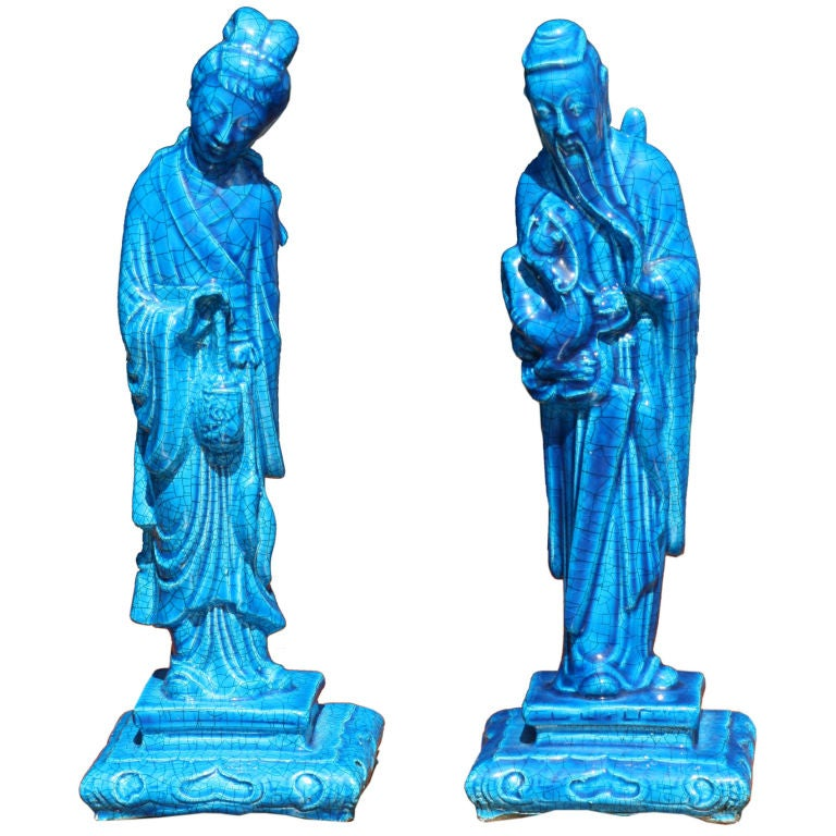 Pair of Turquoise Crackle Glaze Chinoiserie Figurines 1