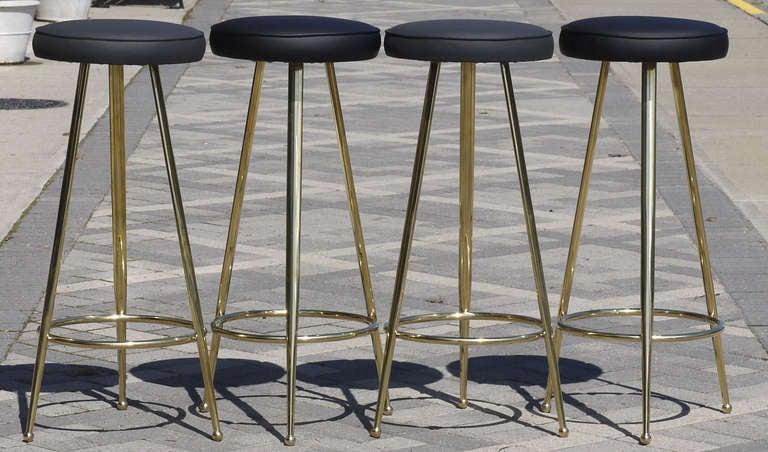 Set Of Four Italian Brass Bar Stools At 1stdibs