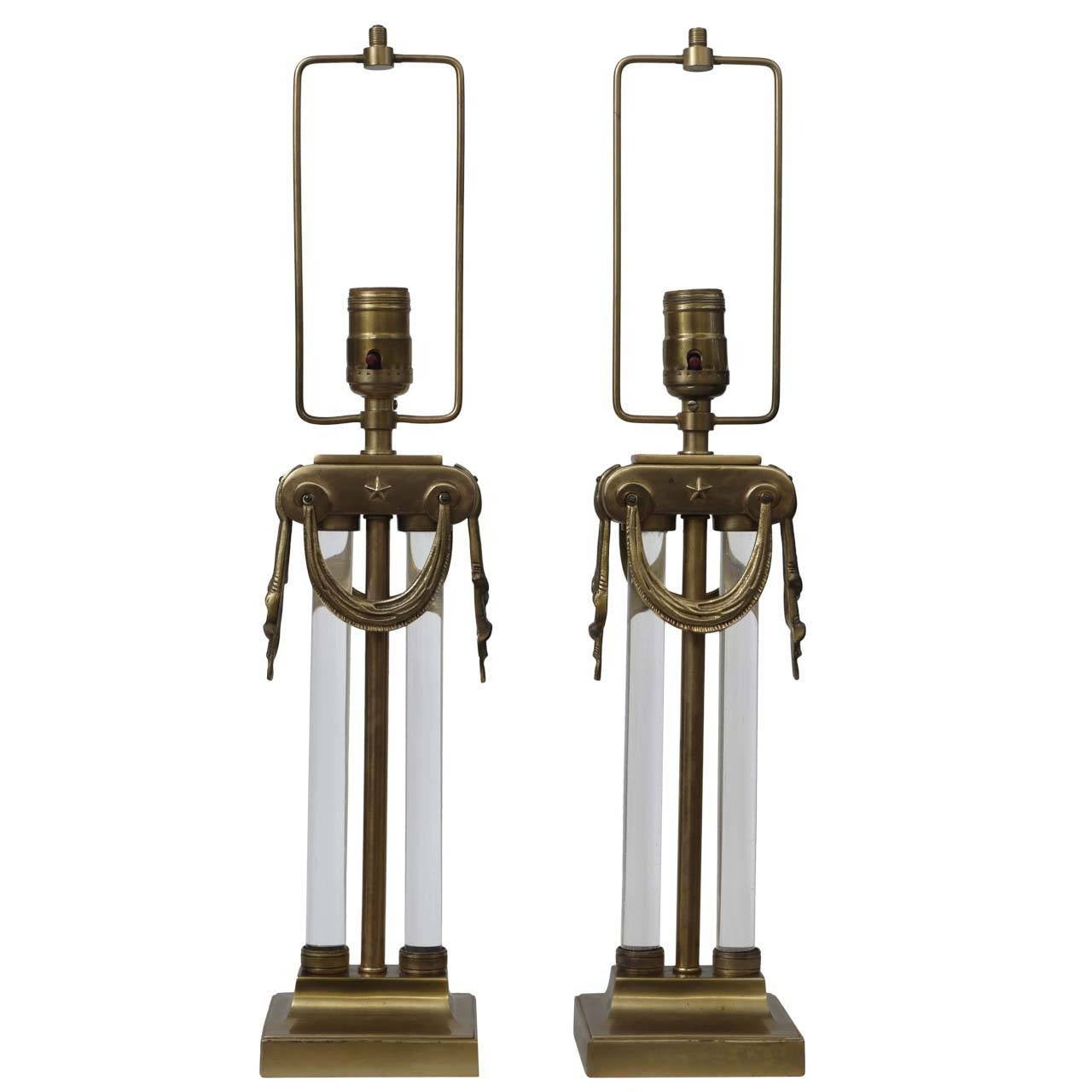 Rare Pair of Neoclassical Lamps by Mutual Sunset