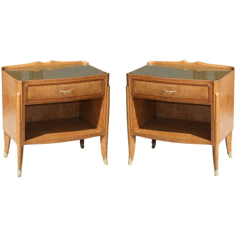 Pair Of Burl Wood Bedside Tables By Paolo Buffa At 1stdibs