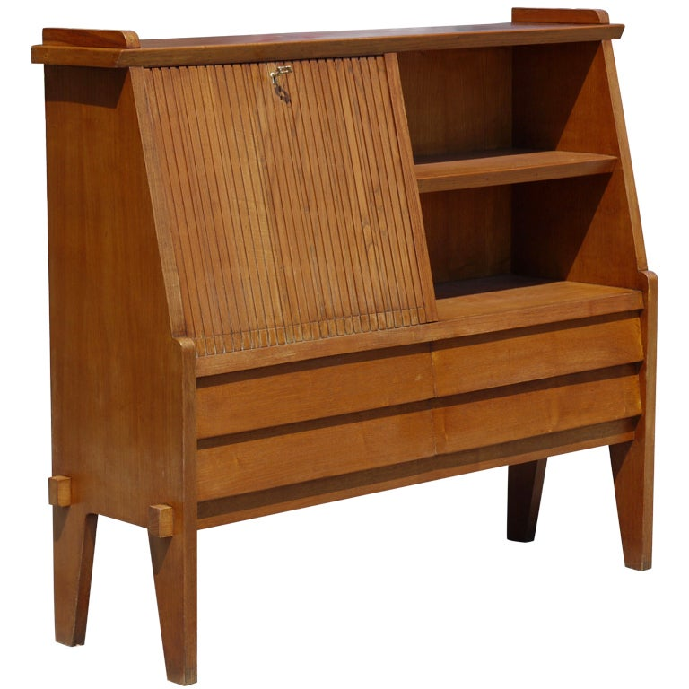 Italian Slant Front Desk with Bookshelf