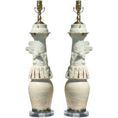 Pair of Chinese Funerary Jars Mounted as Lamps