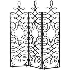 French 1940's Hand Forged Iron Screen by Gilbert Poillerat