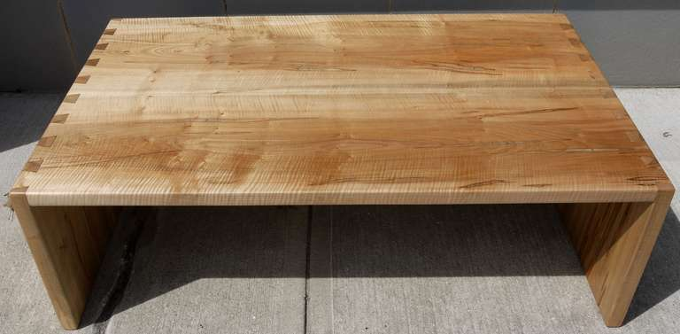 20th Century Dovetailed Spalted Tiger Maple Coffee Table For Sale