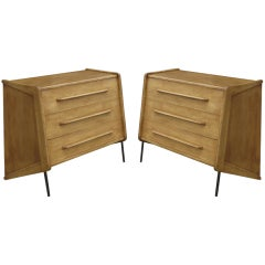 Pair of Oak Dressers by Claude Vassal
