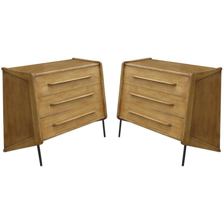 Pair of Oak Dressers by Claude Vassal