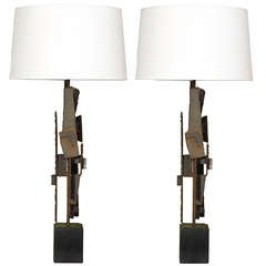 Brutalist Pair of Lamps by Harry Balmer