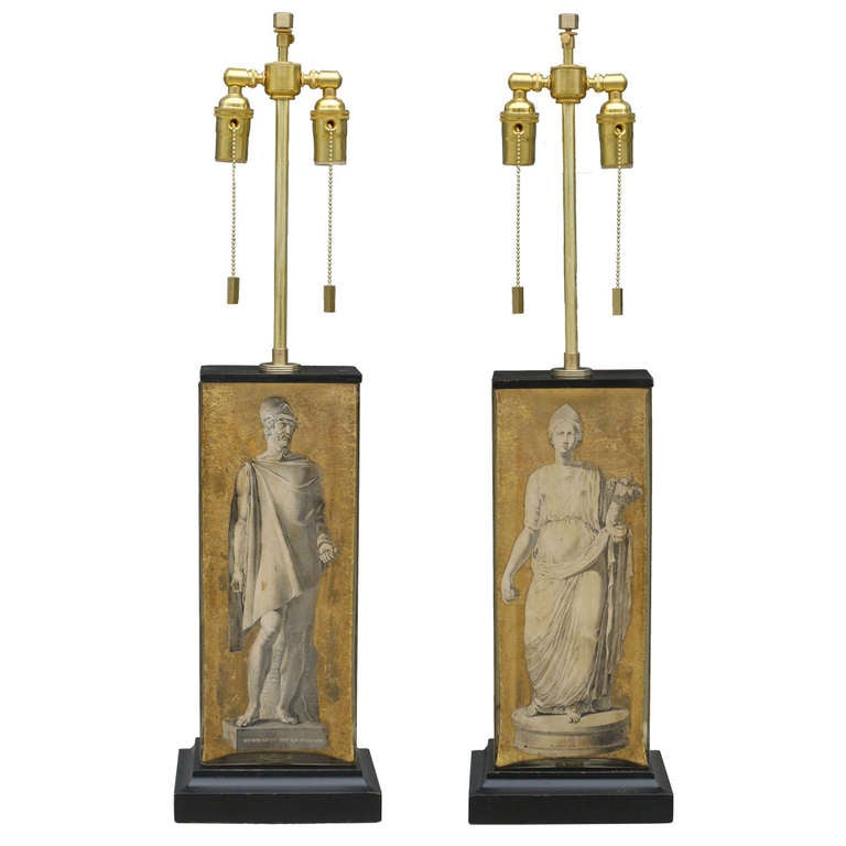 Pair of Neoclassical Eglomise Lamps