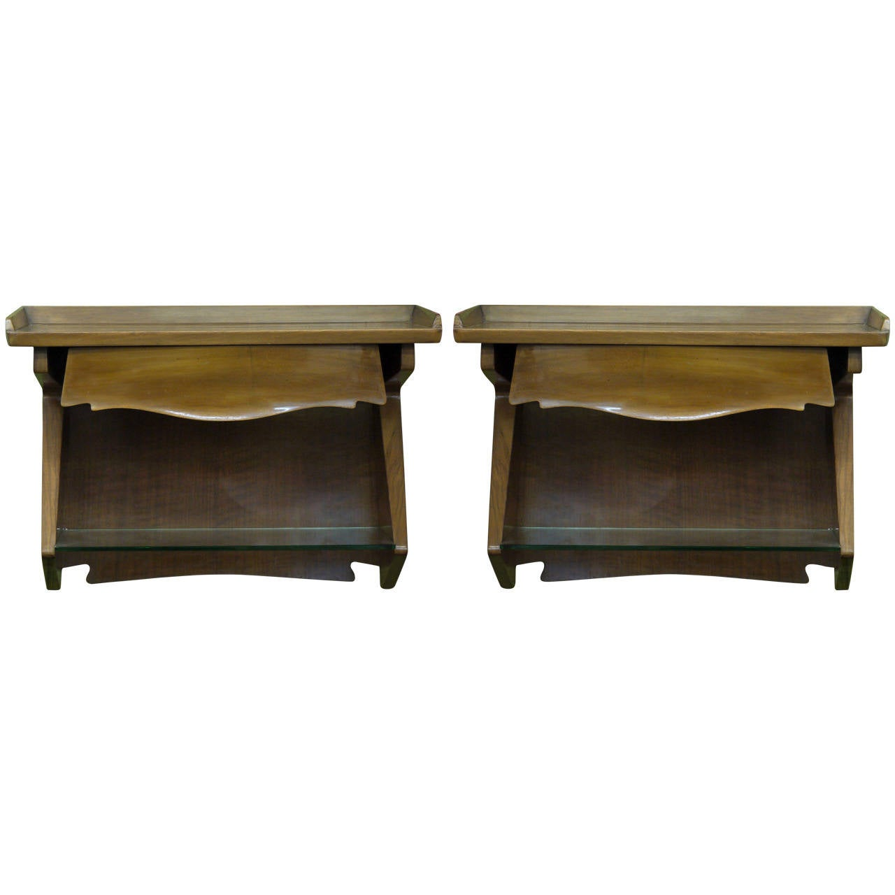 Pair Of Wall Hung Italian Modernist Bedside Tables For