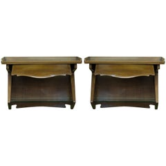 Pair of Wall Hung Italian Modernist Bedside Tables