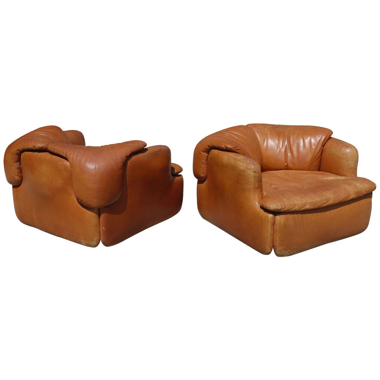 Rare Pair of Leather Chairs by Alberto Rosselli for Saporiti