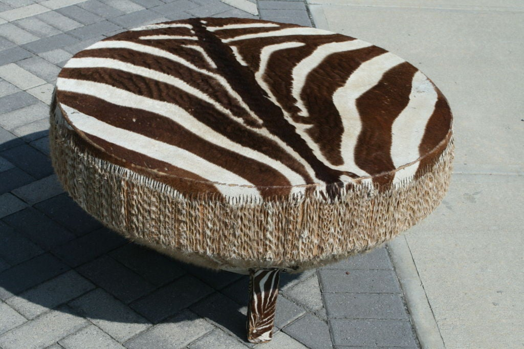 large stretched zebra hide drum coffee table at 1stdibs. Black Bedroom Furniture Sets. Home Design Ideas