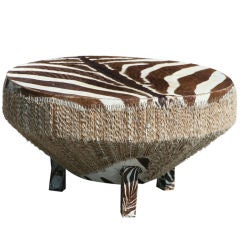 Large Stretched Zebra Hide Drum Coffee Table